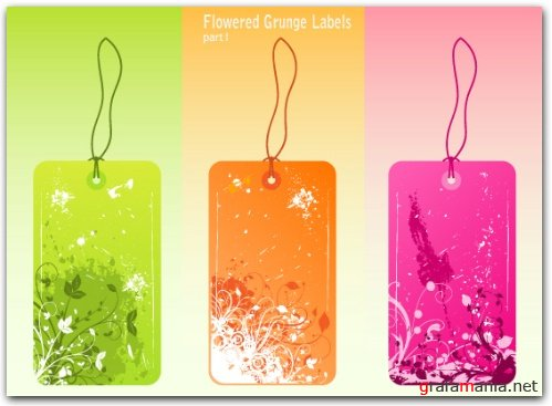 Flowered Grunge Labels