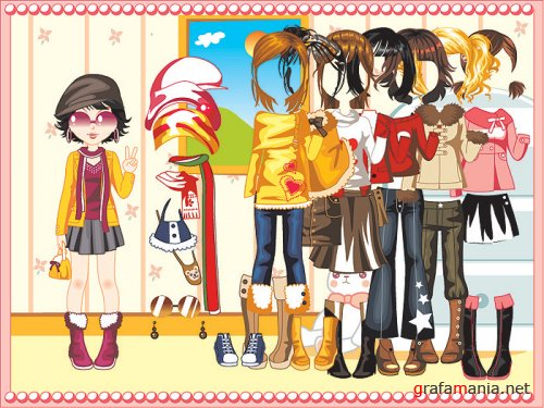 Girl and 8 Hairs & Costumes