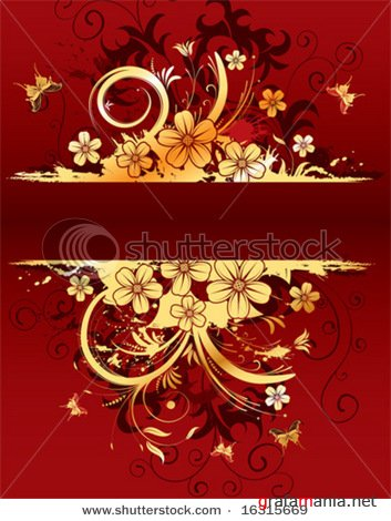 Abstract grunge flower frame with butterfly