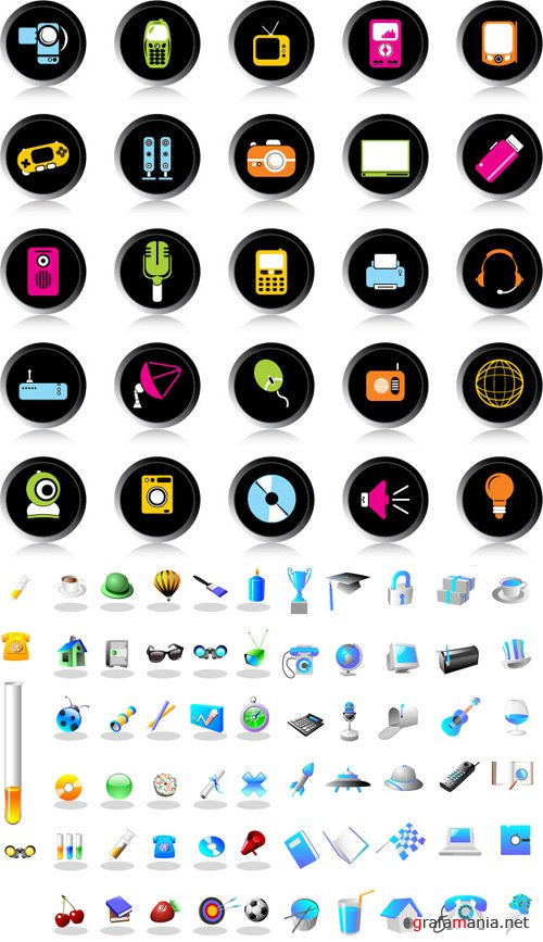 Goods vector icons - ImageBBS + Multimedia and digital equipment
