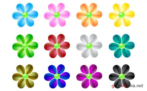 Color Vector Icons - Starts and Flowers