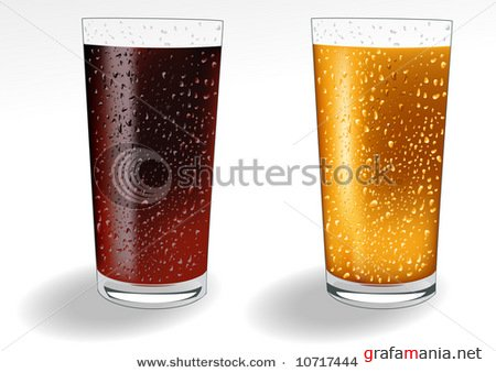 Glass with coke and orange juice, vector illustration, EPS file included