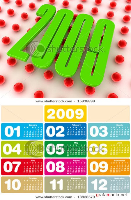 3D Red and Green Colorful 2009 Calendar