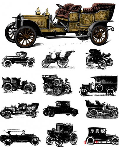 13 Vintage Cars Vector