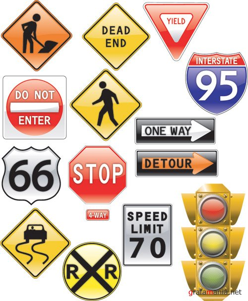 Road sign and traffic light Vector