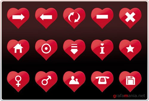 Vector Red Heart Icons Set