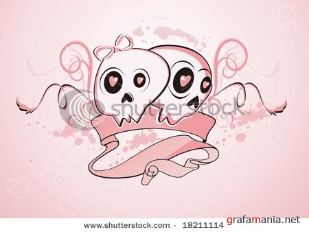 A cartoon illustration of a pair abstract girlie skulls with pink floral and grungy background & Beautiful cross icons