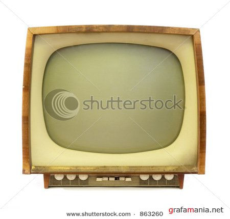 SUPER POST : old tv  &  Brown Leather armchair over the white  &  Happy funny people. Isolated over white background