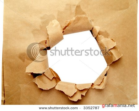 Domino effect  & Brown paper with hole isolated on white