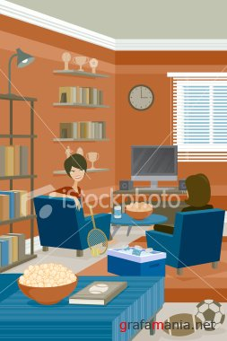 2 AMAZING ISTOCK  VECTOR :  guides with sky background  &  Sports Room