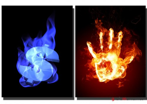 Images - Fire hand and dollar from dreamstime