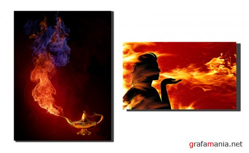 IMAGES - FIRE - LAMP & GIRL