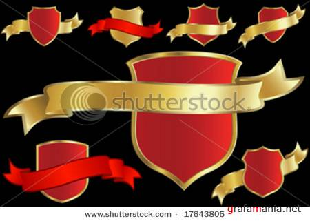Set of Shields with Ribbons