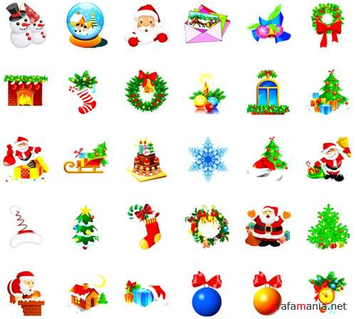 New Year and Christmas icons