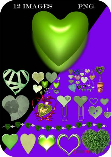 PNG Cliparts - Green HEARTS
