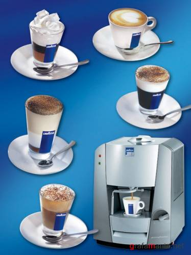 Coffee cups and machine