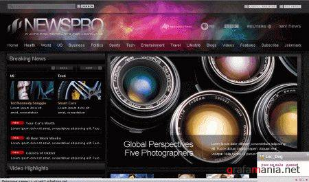 NewsPro Darkness - JoomlaXTC March 09 Template Full