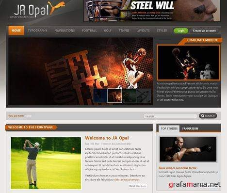 JA Opal - Sports News Online Joomla Template