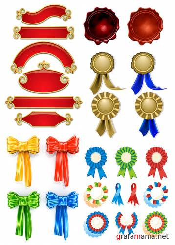 Design elements - banners, ribbons, rosettes, blank seals, awards, medals, wax seals on a white background