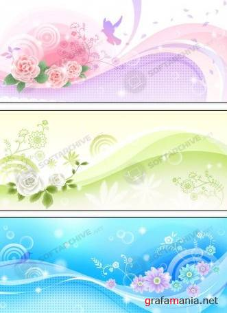 Vector - Colored Floral Background