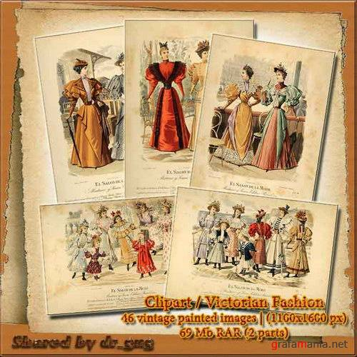 Victorian Fashion - 46 vintage painted images
