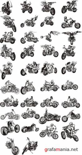 Digital Clipart - Choppers & Bikes