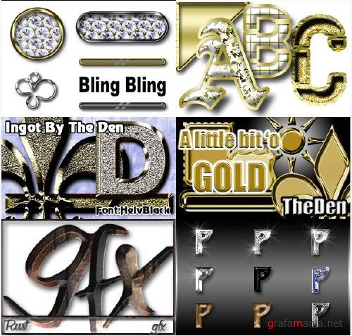 Gold, Silver & Bling Bling Photoshop Styles + Actions