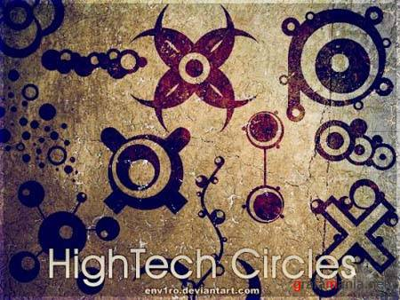 HighTech Circles Photoshop Brushes