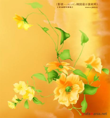 Drawing flowers - PSD template