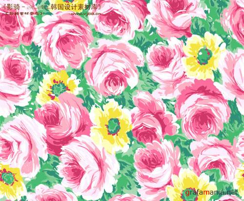 Drawing pink flowers - PSD template