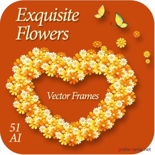 Exquisite Flowers Vector Frames