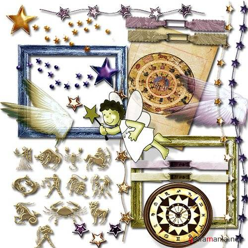 Скрап набор - Gold and Purple Stars freebie kit