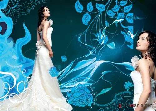 The bride in white PSD template