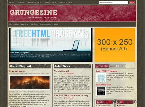 Grungezine - Free Wordpress Theme