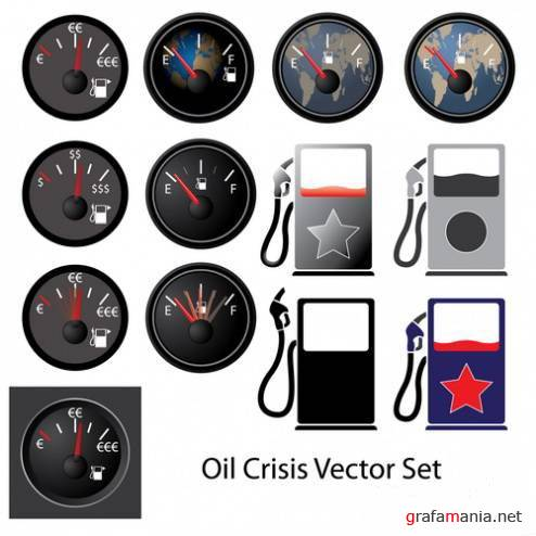 Oil Crisis Vector Set
