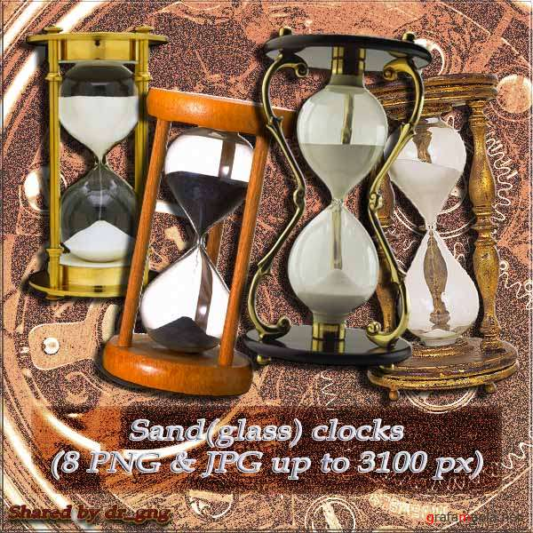 Clipart / clock / Sand (glass) clocks (8 HQ PNG)