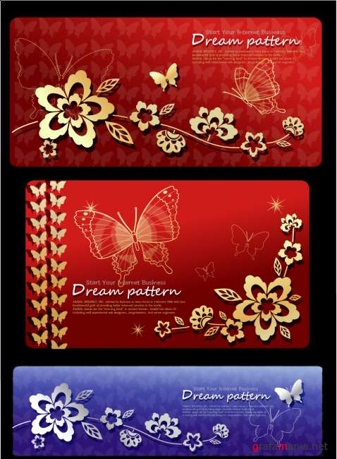 Dream Pattern Flowers and Butterflies