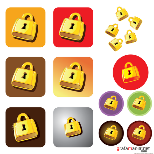 Golden Lock Vector