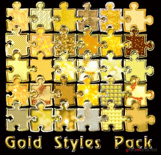 Gold Styles Pack For Photoshop