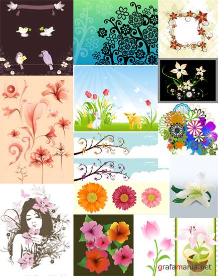 Vector Flowers Mix -2