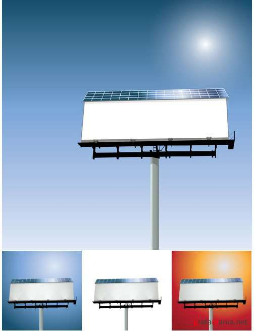 Solar Powered Billboard Vector