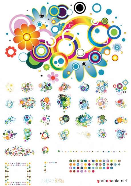 30 Colorful Flower Designs Vector