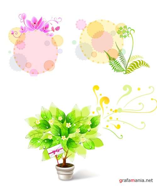 Vector clipart - Floral motives