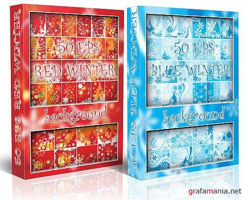 Red & Blue Winter Backgrounds