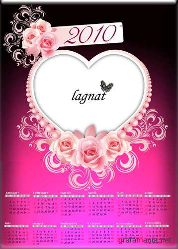 "Calendar-frame of the 2010 ""Heart"" (PSD)"