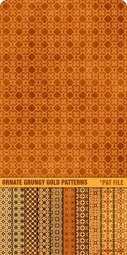 Заливки для Photoshop - Ornate Grungy Gold Patterns