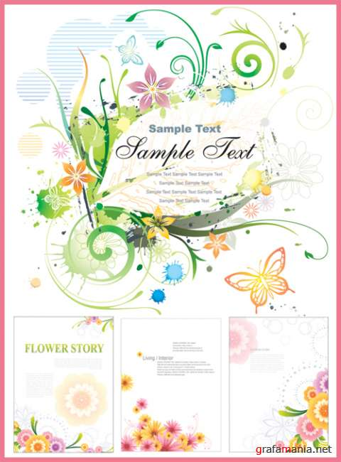 Vector flower cards