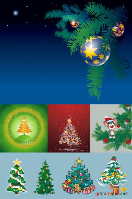 New Year Trees  Vector