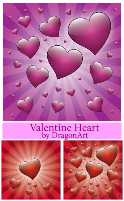Valentine Heart with Rays Vector