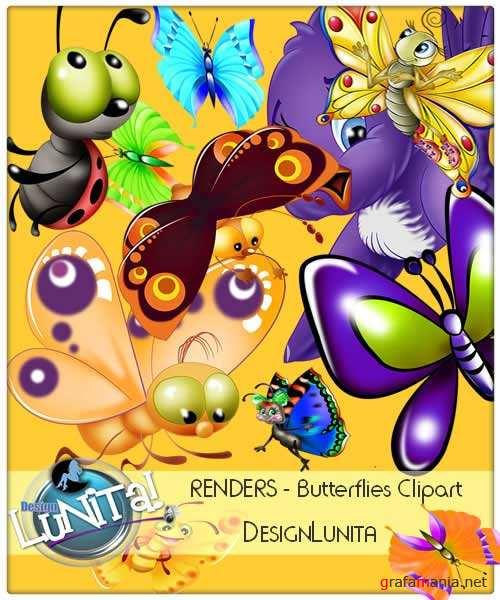 Butterflies Clipart Renders Pack HD